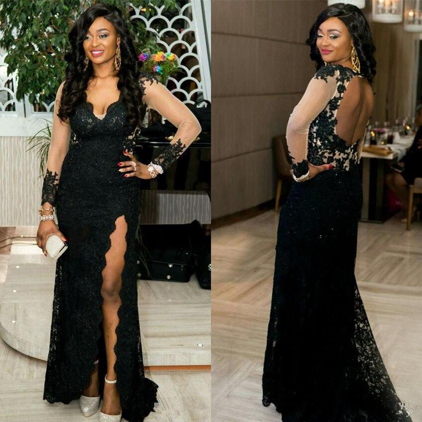 Us 12218 18 Offvintage Black African Lace Prom Dresses 2019 Robe De Bal Side Split Open Back Mermaid Formal Evening Gowns Black Girls Dress In