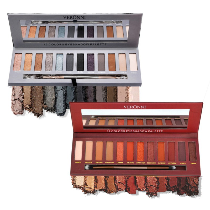 VERONNI Red Heat Smoky Eyeshadow Palette 12 Colors Matte Shimmer Eyeshadow Makeup Warm Brown Red Smoky Pro Cosmetics Kits