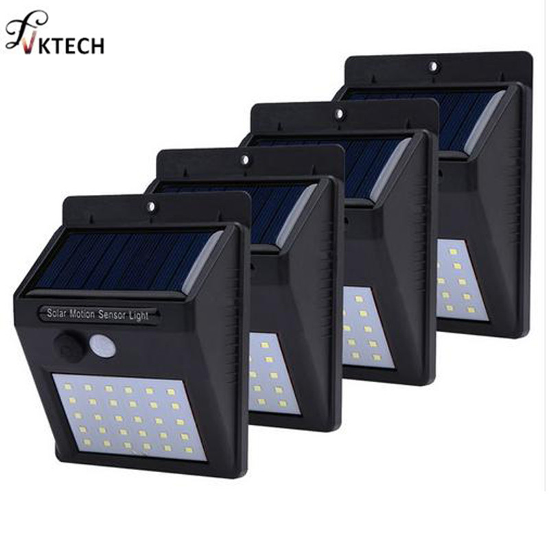 1-4pcs Solar Light 20/30 Leds PIR Motion Sensor Wireless Solar Wall Lamp Waterproof Outdoor Yard Deck Garden LED Light Dropship