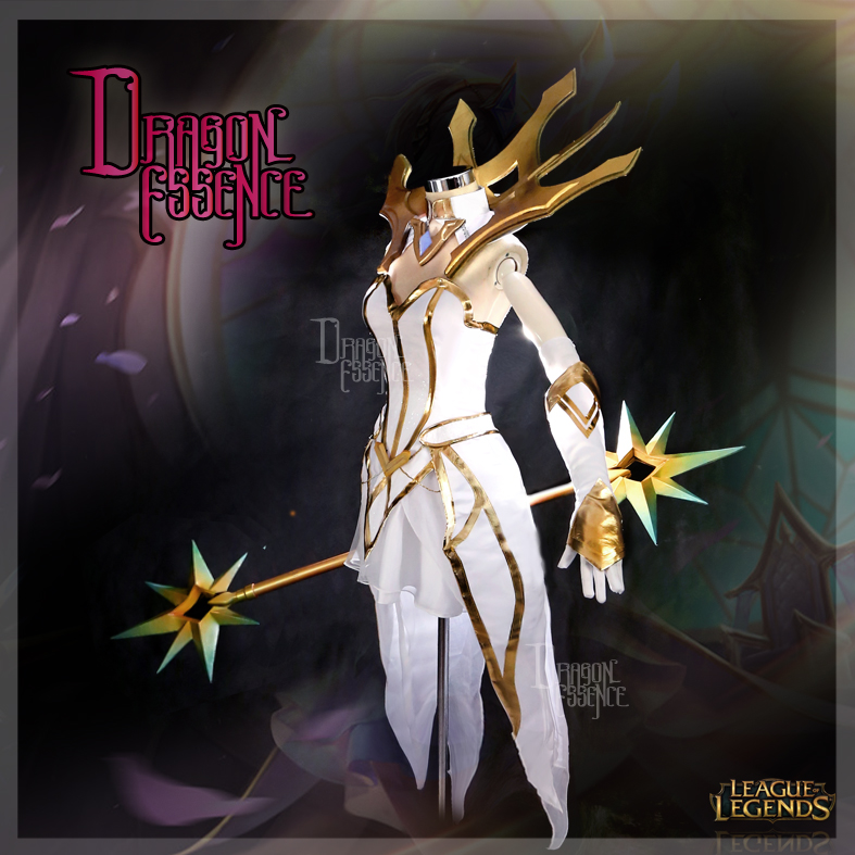LOL League Of Legends Elementalist Lux The White Dress Cosplay Costume Full Set