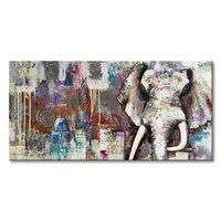 Everfun 손으로 그린 현대 동물 유화 벽 장식 코끼리 예술 궁전 질감 작품 사진 액자