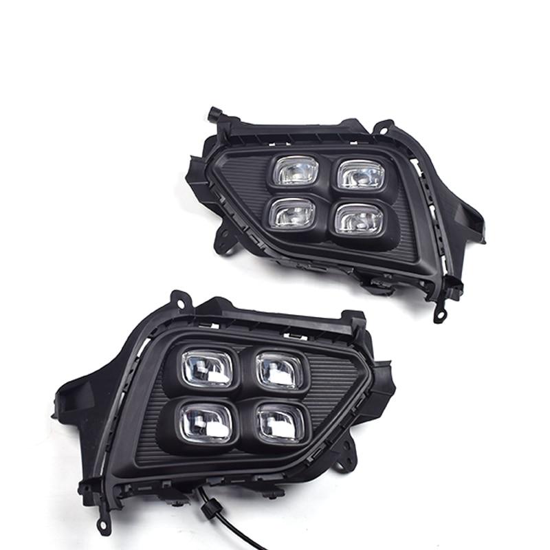 2 pièces Feux de Circulation Diurnes for Hyundai Ix25 DRL antibrouillard Lampe Frontale Avec Jaune Clignotant Auto Accessoires