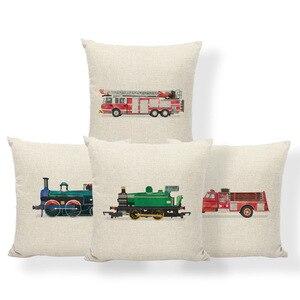 Fundas de cojín con dibujos de coches coloridos, fundas de cojín con dibujo del Land of Trains 1 dibujo lateral, cojines para la habitación de los niños, fundas de almohada de 43 cm