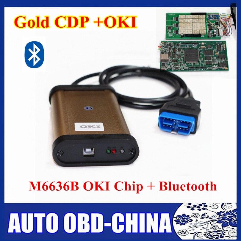 Prix pour 2015.1 R1 TCS CDP Pro Plus Or CDP Avec Bluetooth Et M6636B OKI puce Auto OBD2 Outil De Diagnostic Or Couleur 3 en 1 TCS CDO PRO