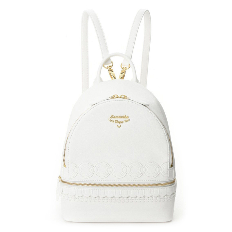 New Sailor Moon White PU Leather Backpack Women Shoulder Rucksack School Student Bag for Teenage Girls Brand Sac A Dos Femme new vintage leather backpacks women backpack drawstring rucksack brand shoulder bags for teenage girls school bag sac a dos