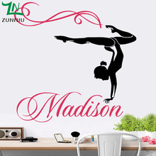ZN Personalized Name Custom Gymnastics Dance Dancing vinyl Wall Sticker for kids girl room Home Bedroom decoration Decals