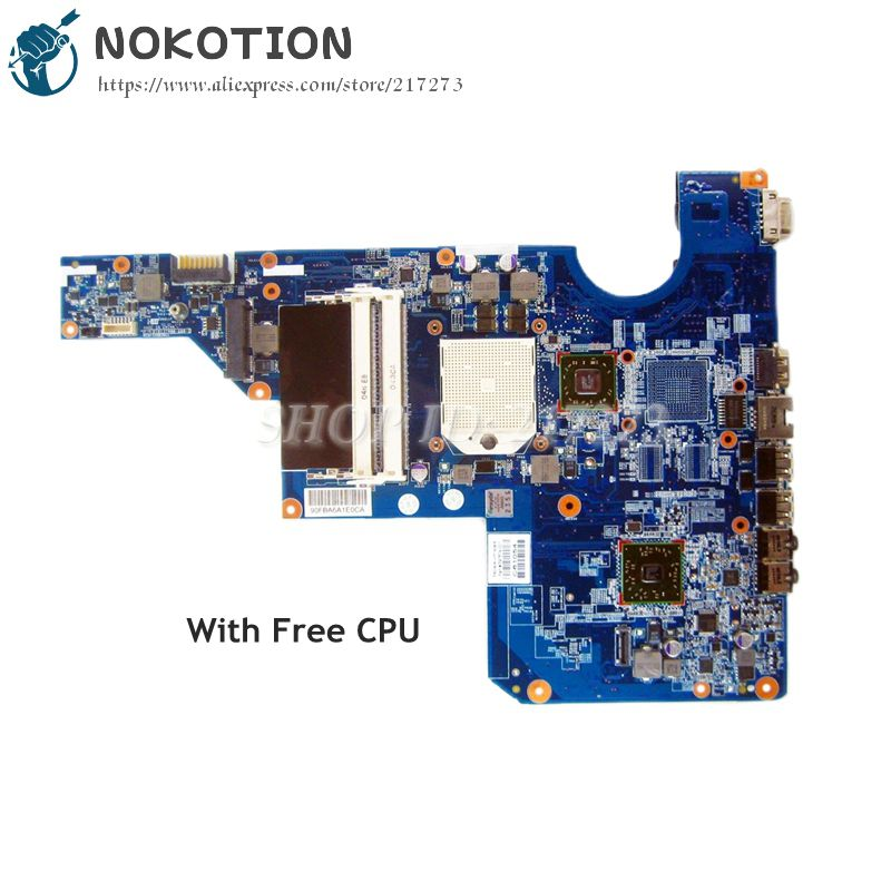NOKOTION 597674-001 MAIN BOARD For HP CQ62 G62 Laptop Motherboard Socket S1 DDR3 with Free cpu 685518 001 684319 001 main board for hp elitebook 8560w laptop motherboard qm67 ddr3 with graphics slot