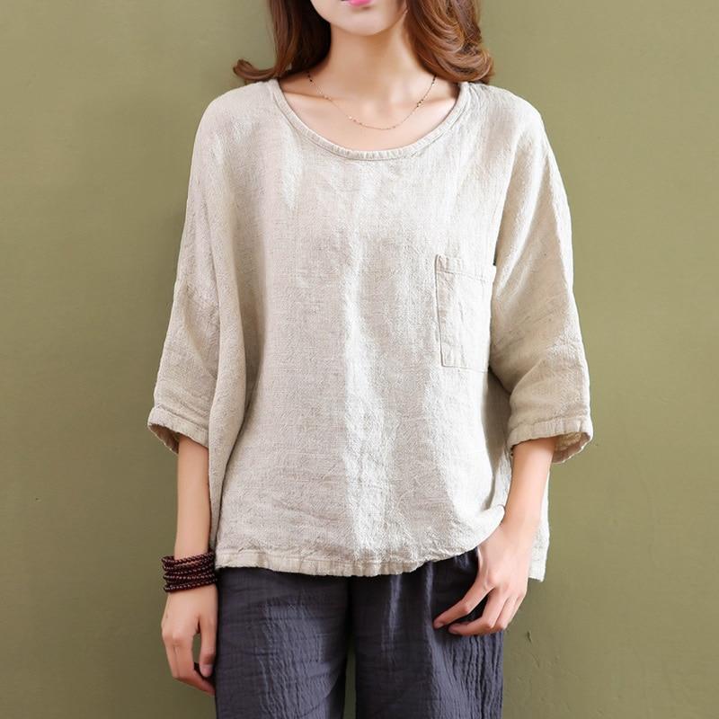 Plus size white linen women blouses shirt solid o neck for Linen women s shirt