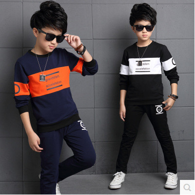 Retail children's sports suit boys and girls 2-12 years old children big virgin suit uniforms Spring clothes Jacket + Trousers