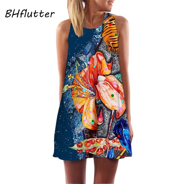 BHflutter мини-платье с цветочным принтом для женщин, новый стиль, летнее шифоновое платье без рукавов, повседневное свободное бохо-платье, Vestidos Verano 2018