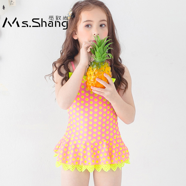 a04a7e407f699 Ms.Shang 2~12 Years Baby Girl Swimsuit 2018 Children Swimwear One Piece  Swimsuits Toddler Girls Bathing Suit Dot Swim Suits Blue