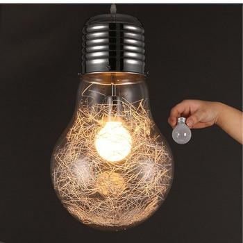 Kepribadian Kreatif Liontin Lampu Besi Kaca Bohlam Vintage Lampu Bar Bahasa Rusia Gudang 300 Mm * 450 Mm Besar Liontin lampu