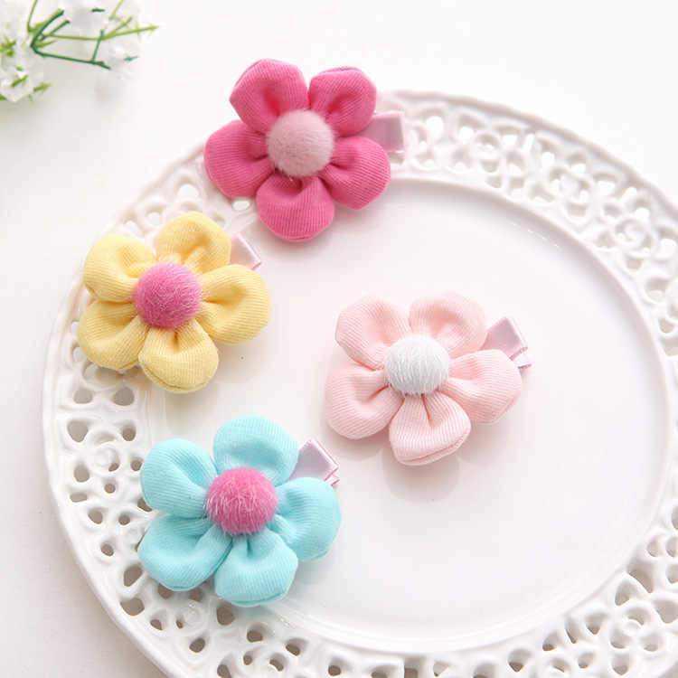 2018 New 2PCS/Lot Hair Accessories Hair Rope Kids Sweet Hair Clips Five Leaves Floral Girls Cute Elastic Hair Bands for Children
