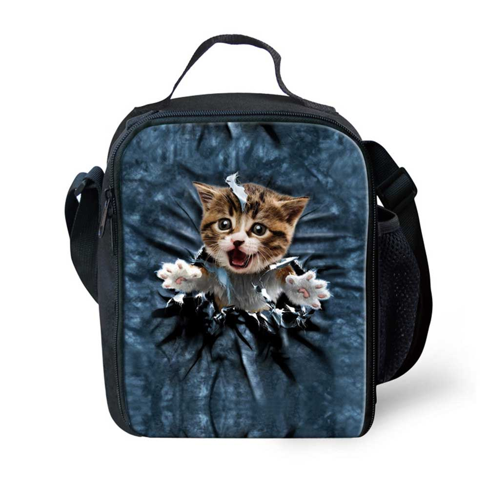 Cute 3D Cowboy Cat Printing Lunch Bag for Women Insulated Kids Lunch Box Food Container Girls Picnic Bag Bolsa Termica
