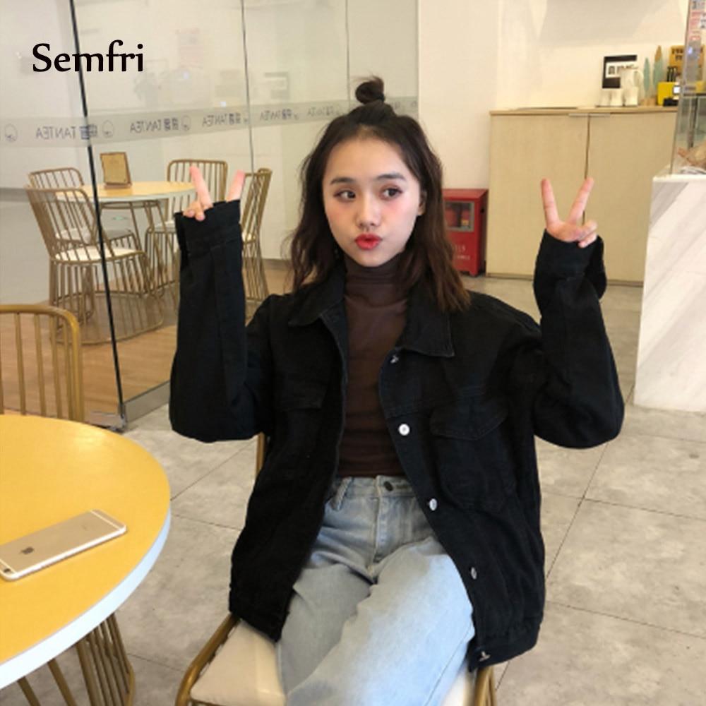 Semfri Casual Black Jeans Jacket 2019 Women Korean Loose Pocket Denim Coat Female Cowboy Winter Jean Coat Outwear Jaquetas