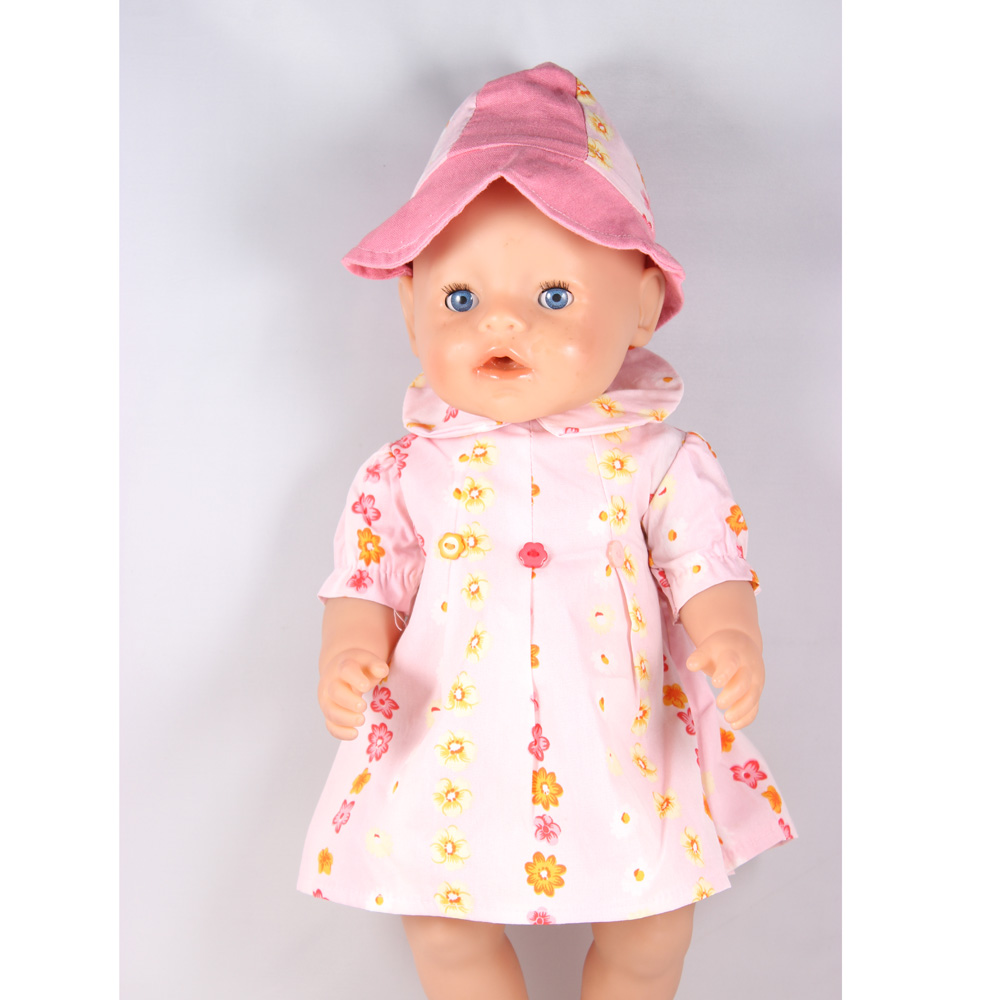Fashion Doll Clothes Sun Dress And sun hat Fits 43cm Baby Born Doll Best Birthday Christmas Gift ZD90