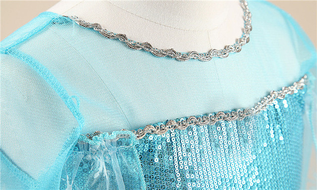 Fancy 4-10y Baby Girl Princess Elsa Dress for Girls Clothing Wear Cosplay Elza Costume Halloween Christmas Party With Crown 4