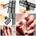 Nail Art Manicure Stencil Stamping Vinyls Tip Stickers Manicure Beauty DIY Nail Art Decal Tools 12Tips/Sheet