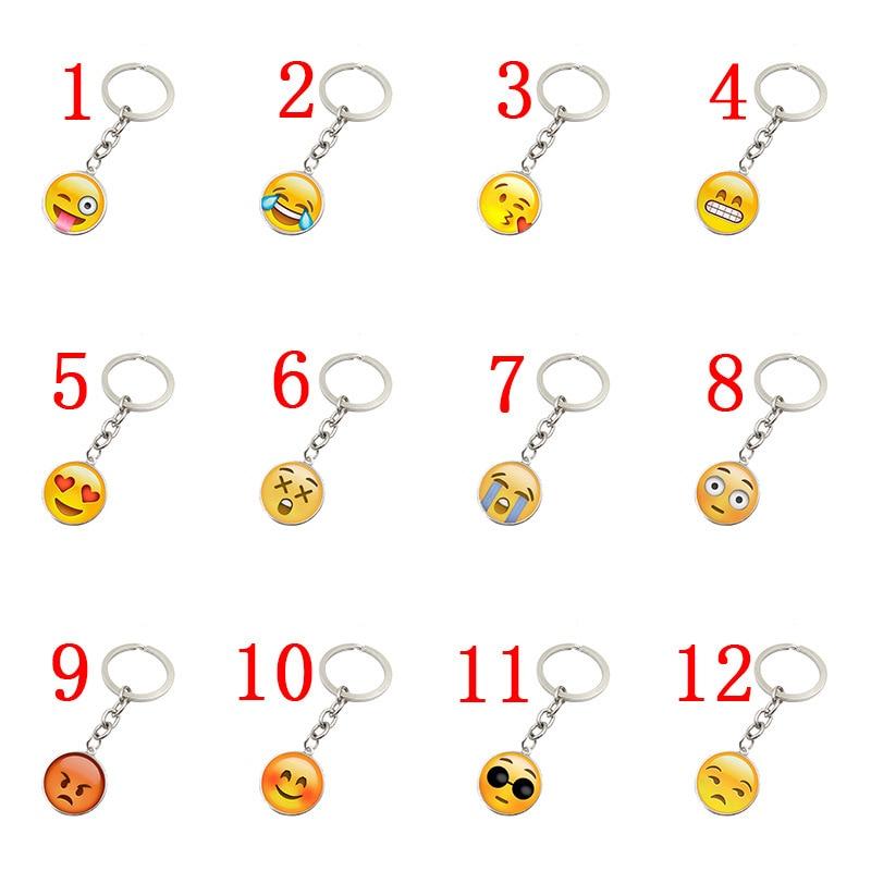 10pcs/lot Mix Random Emoji Face Expression Keychains Keyring DIY Jewelry Charms Key Chain