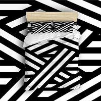 4 Piece Bed Sheets Set Unique Black White Lines Stripes With Diagonal Element Design 1 Flat