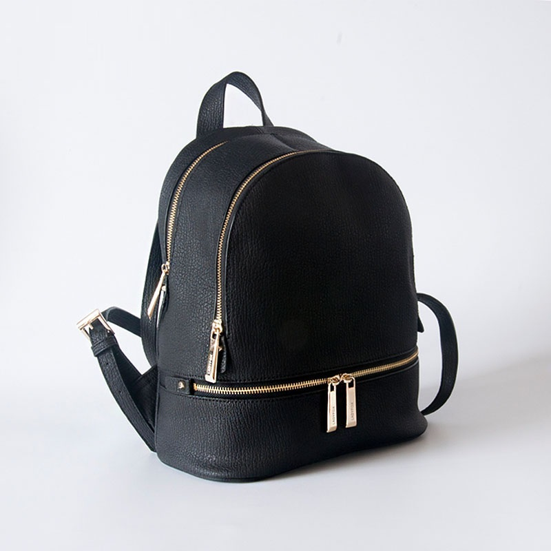 High Quality Black And Gold Backpack Cute Double Zipper Cowhide ...