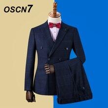 OSCN7, двубортные костюмы на заказ, Мужские приталенные костюмы для свадебной вечеринки, мужской костюм на заказ,, 3 предмета, блейзер, брюки, жилет, ZM-587