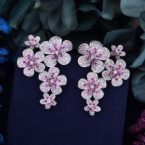 Image 2 - GODKI 48mm Flower Boom Luxury Trendy Full Mirco Paved Cubic Zirconia Naija Wedding Drop Earring Fashion Jewelry
