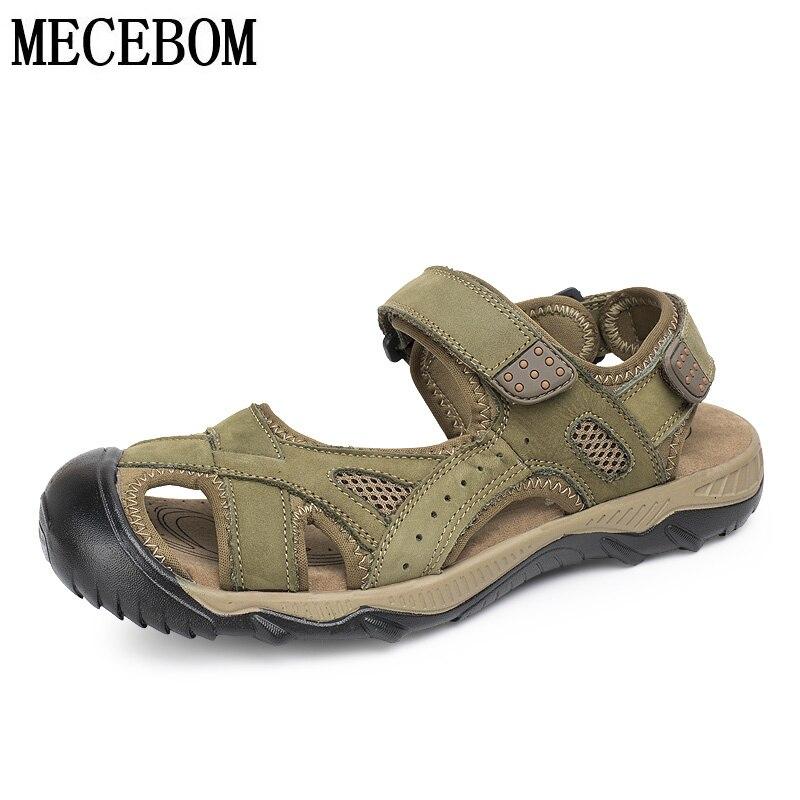 Mens Sandals New Summer Beach Breathable Men Sandals Genuine Leather Mens Sandal Man Causal Shoes Plus Size 39-48 2618m