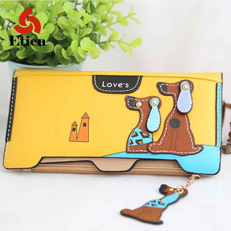 Cute Cartoon Fashion Puppy Zipper Long Wallet Cartoon Dog PU Leather Women Wallets Ladies Clutch Card Holder Free shipping 2017 new women wallets cute cartoon bear lady purse pu leather clutch wallet card holder fashion handbags drop shipping j442