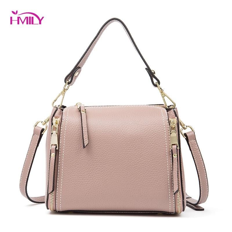 HMILY Cow Leather Women Bag Large Capacity Ladies Messenger Bag Tote Soft Leather Shoulder Bag Elegant Daily Women Handbag