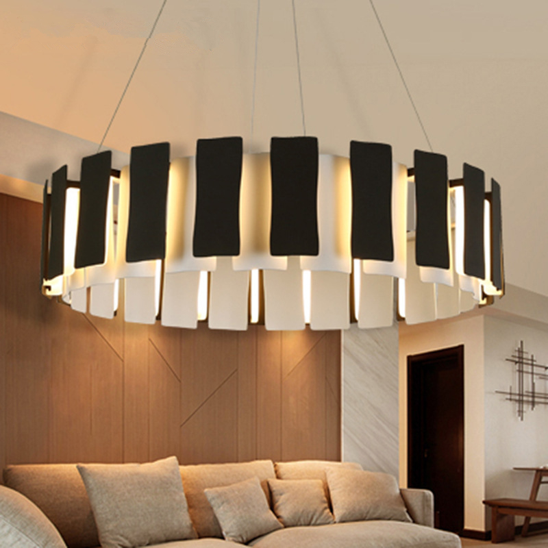 Creative Piano Shaped Led Pendant Light Minimalism Dimmable Pendant Lamp Dining Room Hanging Lamp Round Suspend Lamp Lamparas
