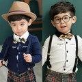 2017 весной и осенью мода лук галстук рубашка мальчик рубашка с длинным рукавом 100% хлопок ребенок рубашка 13e-8