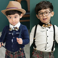2017 spring and autumn fashion bow tie shirt baby boy shirt long sleeve 100% cotton child shirt 13e-8