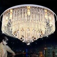 Kristal LED Alüminyum Sticks Asılı Oturma Odası Tavan Işık Yuvarlak Paslanmaz Çelik Üst Toplantı Odası Yemek Odası Tavan Lambaları