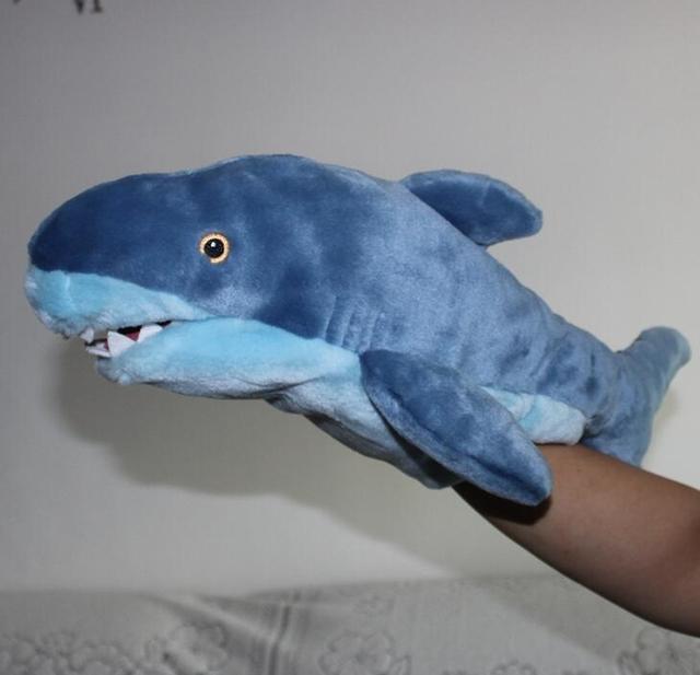 Tiburón Marionetas de Mano Incluso Lindo Peluche Doll Creativo Tiburón Azul Pareja Niños Regalos de Cumpleaños