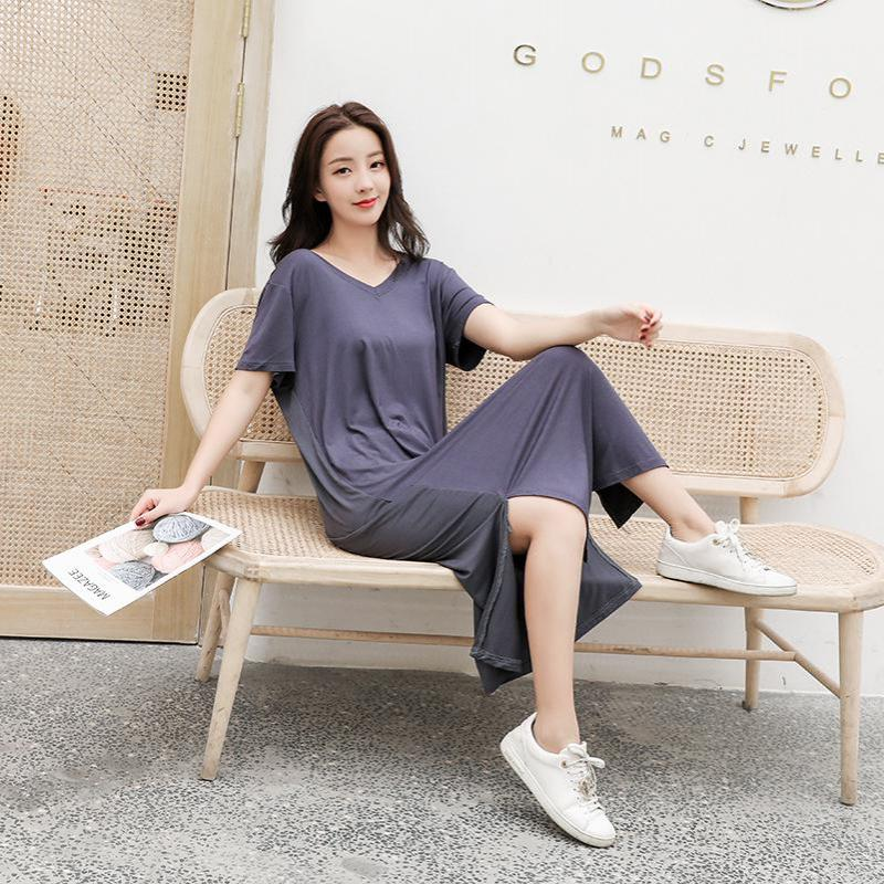 Modal Women Long Robe Nightdress Sexy Cotton V-Neck Nightgown Solid Loose Home Shirt Lounge Intimate Lingerie Korean Sleepwear
