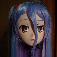 C2 014 Handmade Female Full Head Kigurumi Mask with Purple Blue Hair Cosplay Kigurumi Crossdresser