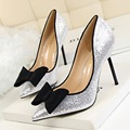 New Spring Thin Female Pumps Fashion Sexy Sequin High Heels Shoes Shallow Bow Pointed High-heeled Shoes Women Single Shoe G393-9