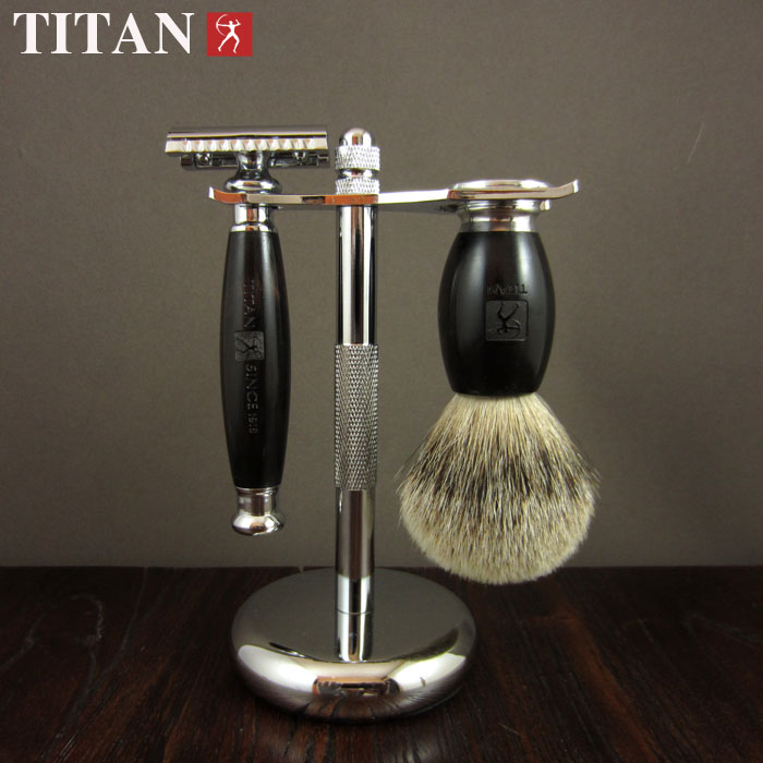 Titan safety razor set  wood handle razor with stand shaving brush free shipping  shaving product titan disposable metal handle safety razor with blade free shipping in gift box