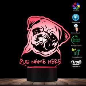 Image 2 - Nome personalizzato Pug Ritratto HA CONDOTTO LA Luce di Notte Pug Dog 3D LED Illusion Kid Camera Lampada Da Tavolo Con Cambiamenti di Colore Del Cane gli amanti del Regalo Memoriale