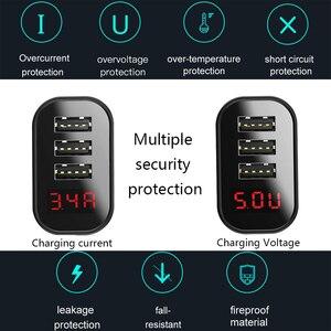 Image 3 - Baseus 3 bağlantı noktaları şarj cihazı dijital ekran 3.4A Max hızlı şarj duvar adaptörü şarj cihazı