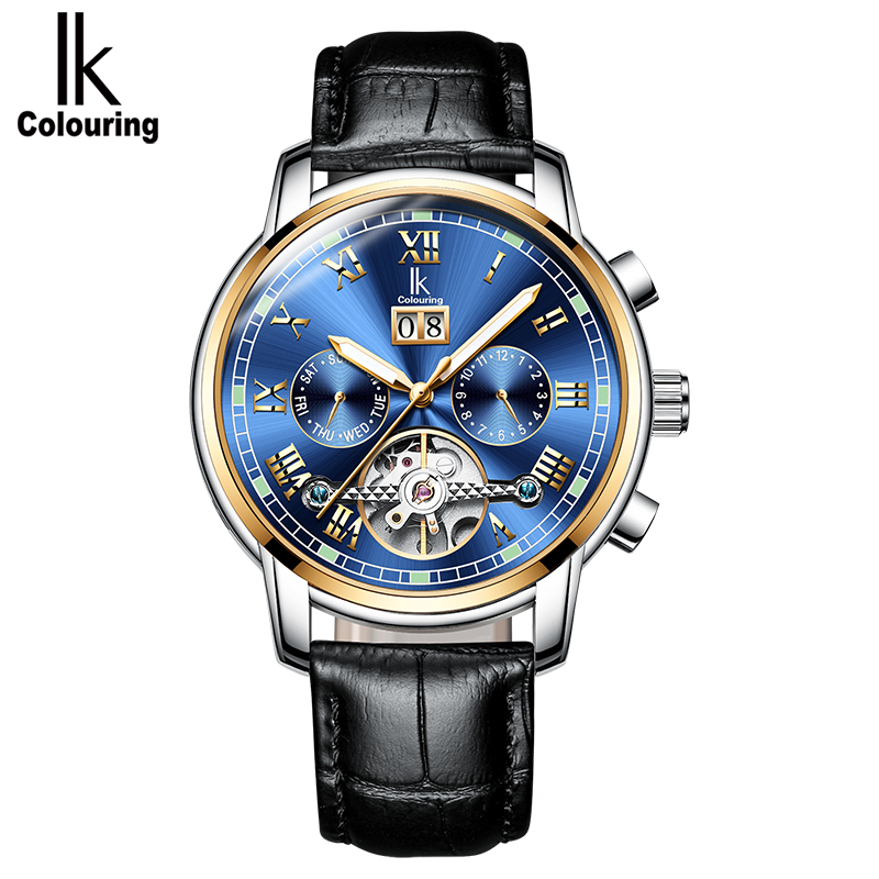 IK colouring Skeleton Tourbillon Mechanical Watch Men Automatic Classic Brown Leather Mechanical Wrist Watches Reloj Hombre 2017 все цены