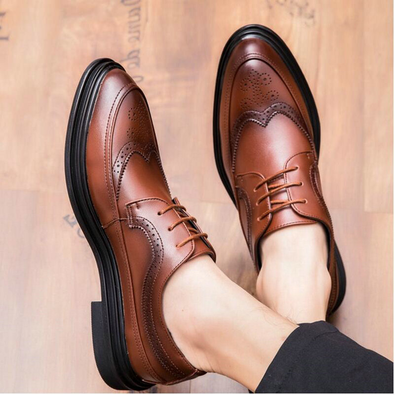 2019 New High Quality Men Oxfords Shoes Male Formal Leather Shoes Men Brogues Shoes  Bullock Business Wedding Dress Shoes LH-68