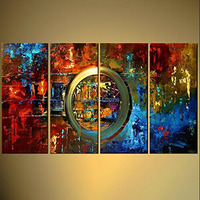 Hand Painted Wall Art Decor Painting Colorful Abstract Oil Painting on Canvas Handpainted Unique Knife Circle Canvas Pictures