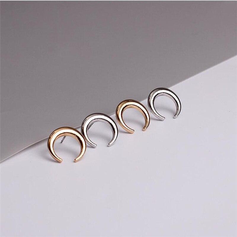 46ef479f87f7 Moda oro plata color Luna Pendientes de broche único Media Luna Media luna  joyería para las mujeres oído Accesorios