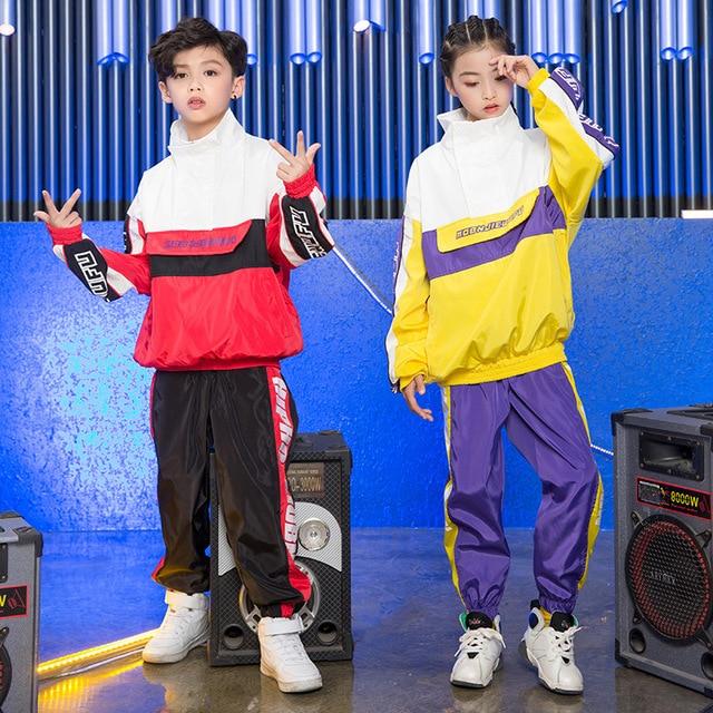 d6ba2c1e9 De moda Hip Hop niños Tops pantalones de manga larga danza Jazz Rave ropa  suelta niño niñas la calle práctica baile DC1085
