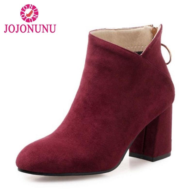 Mujeres 45 Calientes Zapatos Botas Mujer vino marfil Tinto Tacón Zipper Moda Invierno 32 De Negro Alto Más Botines Tamaño Calzado Felpa Jojonunu q64twZaw