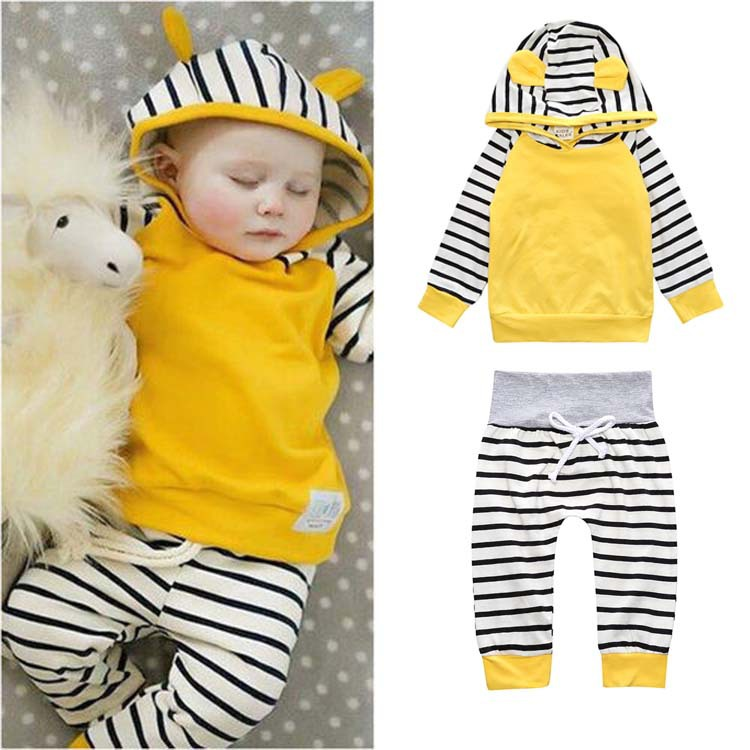 Baby jogger outfits / black and white stripe hoodie and leggings set drawstring contrast stripe jogger pants