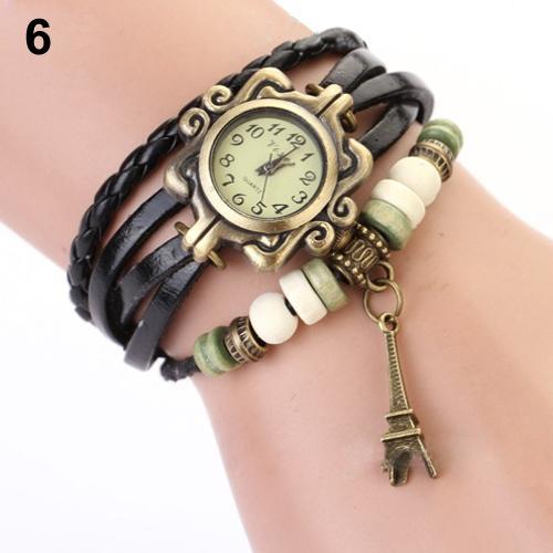 2018 Hot Sale Vintage Women Eiffel Tower Multilayer Braided Leather Quartz Bracelet Wrist Watch Female Clock Relogio Feminino