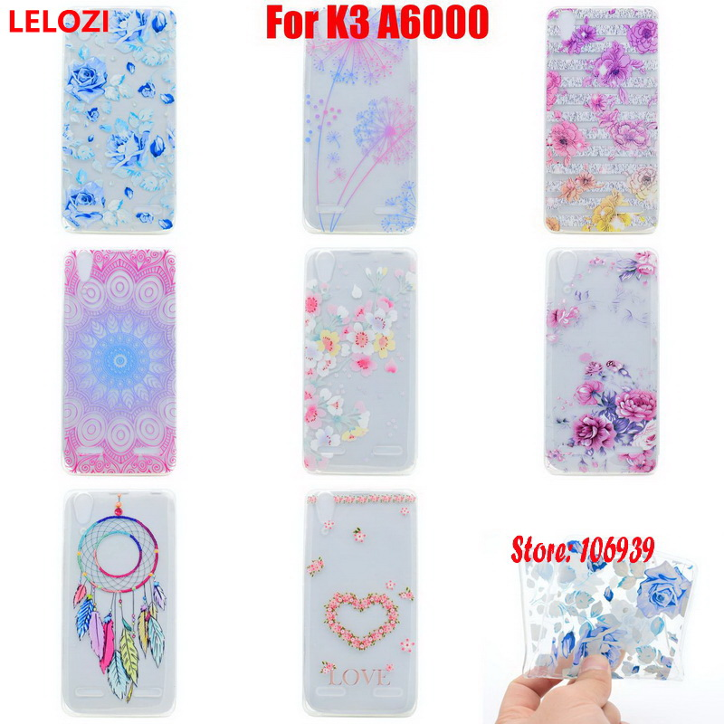 LELOZI Soft Transparent TPU Clear Silicone Silicon Fundas Coque Case Cover For Lenovo K3 A6000 Star Pretty Luxury Beautiful